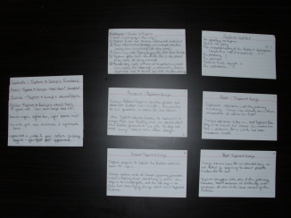 Left: Mini character bios for minor characters | Right: First six cards of outline (please click photo for larger view)