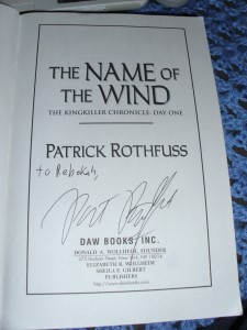 Name of the Wind, Patrick Rothfuss, autograph